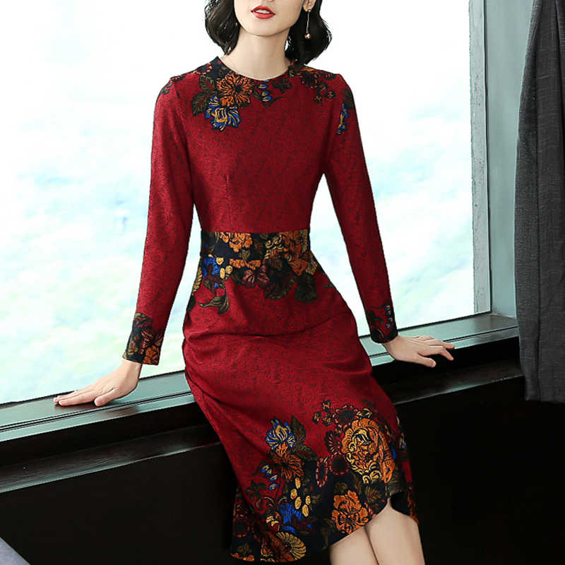 5bddd047aa Detail Feedback Questions about Women Red wine dress long sleeve ...