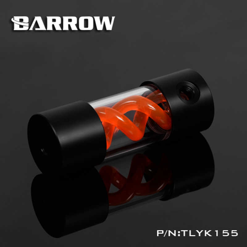 Barrow T Virus Helix Suspension Cylinder Water Tank 155mm Orange With Black Cap Water Cooling  Reservoir TLYK155 barrow 155mm x 50mm double helix t virus cylindrical water cooled coolant tank light system pom pmma white cover 5 color tlyk155