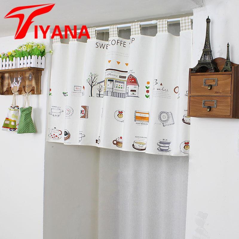Cotton Linen Half Curtains For Cafe Door Kitchen Partition