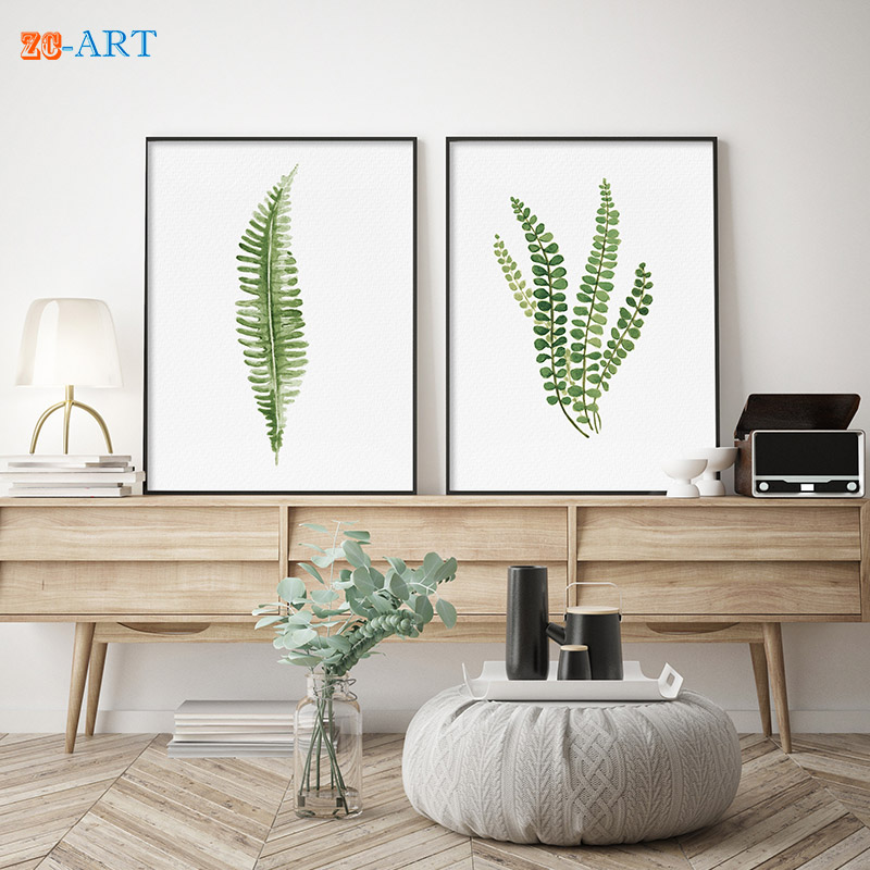 Mirrors Framed Scandi Style Ferns Watercolor Prints Green