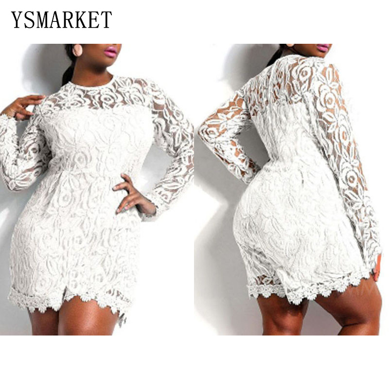 8f1b6e04feec0 Solid Color Hollow Out Long Sleeve Lace Rompers Plus Size Jumpsuit XXL XXXL  XXXXL Clubwear Sexy Short Playsuit White Black Red-in Rompers from Women s  ...