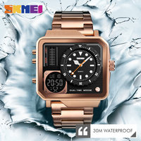 SKMEI Luxury Watchs Mens Gold Watches Digital Electronic Watch Stainless Steel Watch Wrist Display Personality Relogio Masculino