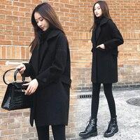 Autumn Winter Black Coat Women Solid Pocket Wool Blend Coat Long Casual Elegant Trench Coat Outwear Woolen Coat Femme