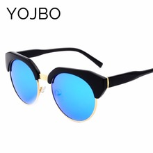 YOJBO Cat Eye Women Sunglasses 2017 Polarized Brand Designer High Quality Vintage Mirror Fashion Eyewear Men Black Glasses