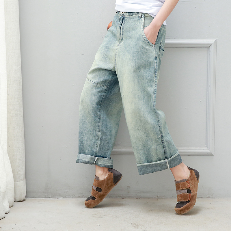 2017 sand wash white jeans wide leg pants women spring and summer thin section of art and size of women's trousers llama llama sand and sun