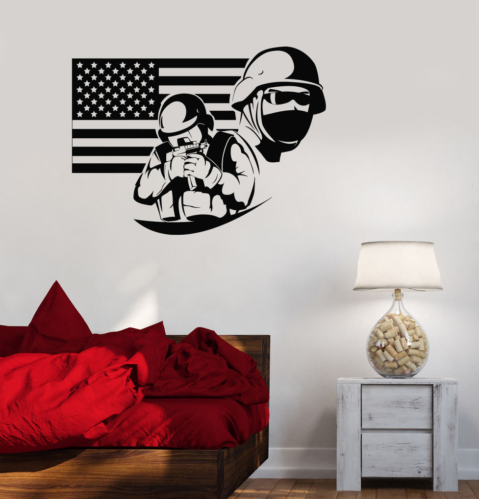 online get cheap usa flag wall decals aliexpresscom  alibaba group -  new vinyl decal american flag soldier military war usa decor wallstickers free shipping(