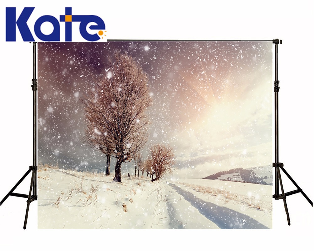 Kate Winter Frozen Outdoor Kids Backdrops Photography Backdrops Trees Snowflake Scenic Studio Photography Microfiber Backdrop
