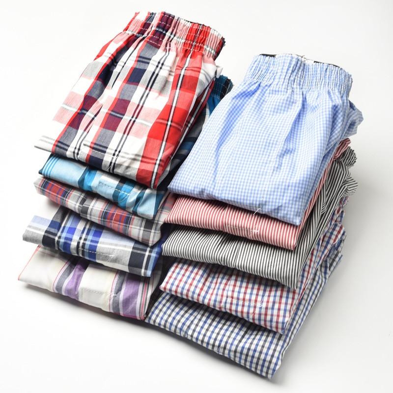 10pcs/lot 6XL Male Underwear Plaid Men Boxers Cotton Loose Woven Boxer Comfortable Family Underpants Man Home Panties Shorts