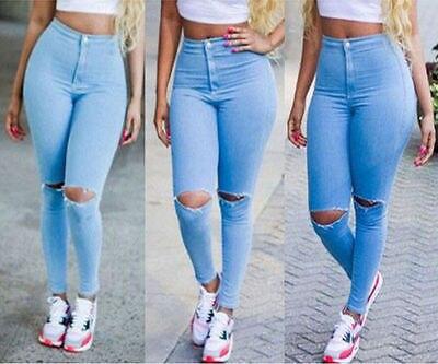 Mujeres Sexy talle alto Jeans flaco elástico pantalones rasgados apenada  Jeggings 308e63237753