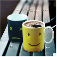 Discoloration Mug Smile Cup Chameleon Coffee Cups 300ml Funny Lovely Cool Smile Ceramic Espresso Cup Thermomug