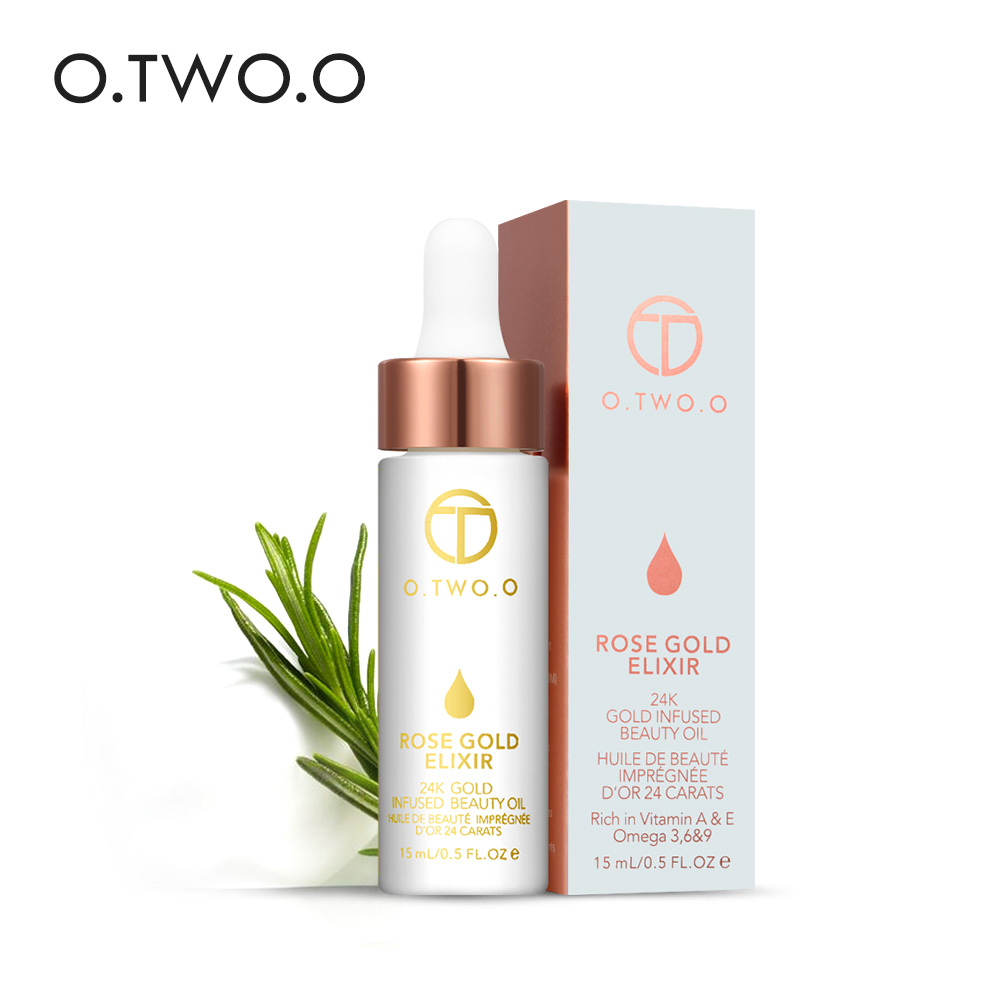 O.TWO.O 24K Rose Gold Elixir Essential Oil Makeup Primer Lips Face Base Make Up Vitamin Moisturizer Let at absorbere ansigtspleje