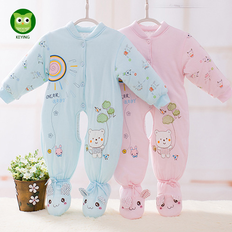 KEYING Newborn Baby Rompers Autumn Winter Package Feet Baby Clothes Polar Fleece Infant Baby Boy Girl Jumpsuits Clothing newborn baby rompers autumn winter package feet baby clothes polar fleece infant overalls baby boy girl jumpsuits clothing set