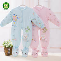 KEYING Newborn Baby Rompers Autumn Winter Package Feet Baby Clothes Polar Fleece Infant Baby Boy Girl Jumpsuits Clothing
