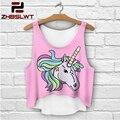 ZHBSLWT T-Shirts 3D Print women tank tops & camis printed sleeveless vest girls summer short unicorn crop tops irregular