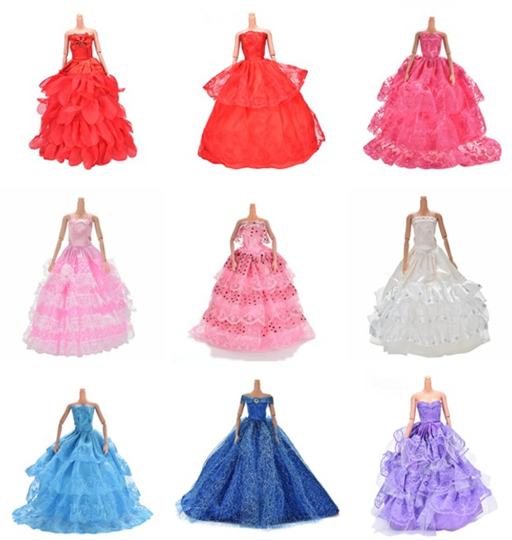 Handmade Wedding Dress Mixed Style Lace Party Gown Dollhouse Costume Accessories Clothes For Barbie Doll Girl's Best Gifts Toys