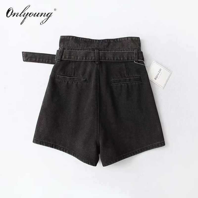 e55182574 ... Onlyoung 2019 Summer Women High Waist Jeans Shorts Streetwear Vintage  Cotton Shorts Belted Blue Black Sexy ...