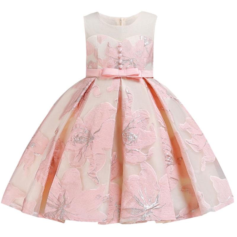 Summer Princess Mesh Dresses First Communion Girls Flower Wedding Clothes Children Baby Fluffy Costume Vestido Ladies Dress