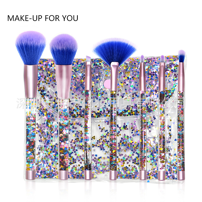 7pcs Glitter Crystal Makeup Brush Set Diamond Professional Highlighter Brushes Concealer Make up Brush Kit pincel maquiagem aquarium liquid glitter brush set mermaid makeup brushes bling bling glitter handle make up brush kit pincel sereia maquiagem