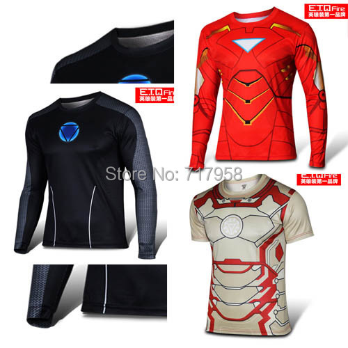 Iron man superhero costume t shirt men avengers cycling for Iron man shirt for men
