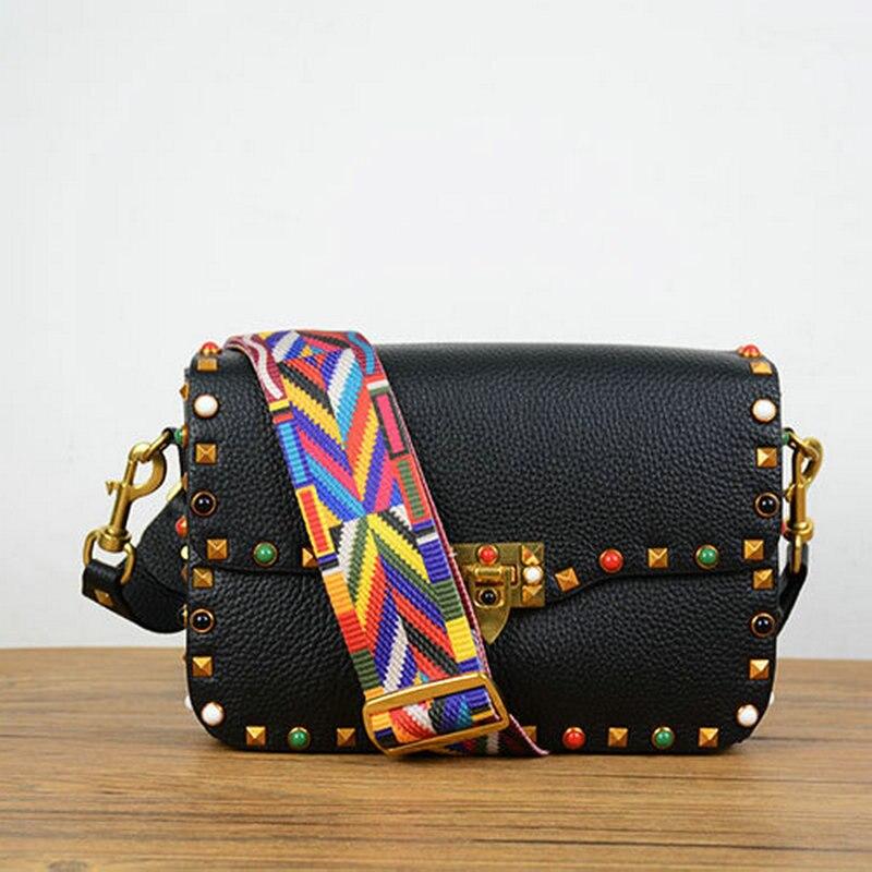 2017 new fashion genuine leather wide webbing strap shoulder bag ...