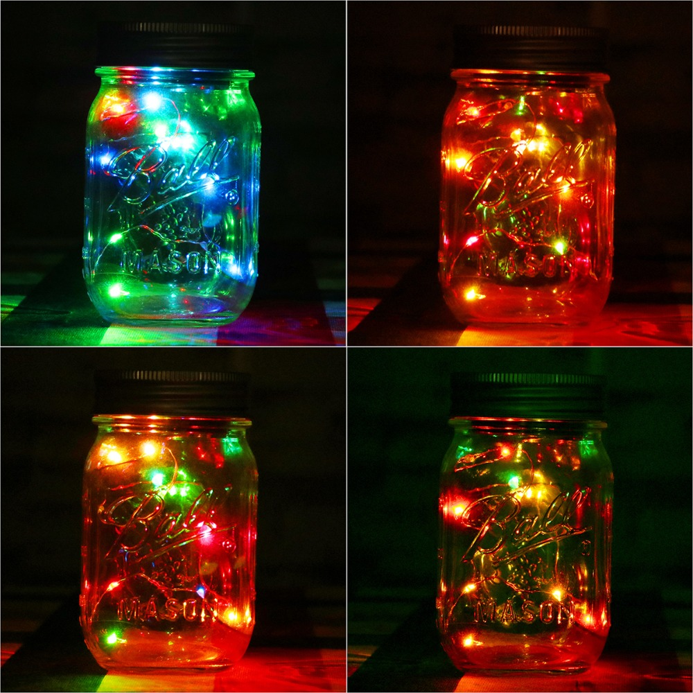 Color change online - 1pc Solar Mason Jar Fairy Light With Color Changing Led For Glass Mason Jars And Garden