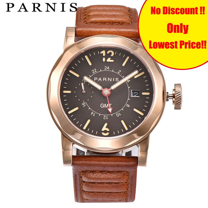Fashion 43mm Parnis Men Watch Automatic GMT Mens Mechanical Watches Sea-gull 2557 Sapphire Crystal Auto Date Rose Gold LuminousFashion 43mm Parnis Men Watch Automatic GMT Mens Mechanical Watches Sea-gull 2557 Sapphire Crystal Auto Date Rose Gold Luminous