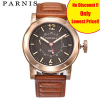 Fashion 43mm Parnis Men Watch Automatic GMT Men's Mechanical Watches Sea gull 2557 Sapphire Crystal Auto Date Rose Gold Luminous