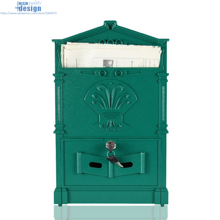 Baroque Mailbox Home Retro Postbox With Lock for Small Paper Post Letter Box Wall Decor 2018 in Mailboxes from Home Garden