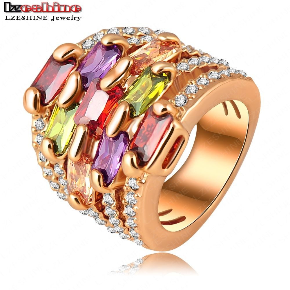 LZESHINE Gorgeous Finger Ring Gold Color Multi-layer Engagement Ring Pave Austrian Crystal Charm Jewelry anillos Ri-HQ0215