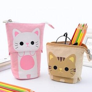 Cartoon Cat Pencil Case Kawaii Animal Canvas Pencil Bag Cute Pen Box For Kids Gift Creative Stationery Organizer School Supplies