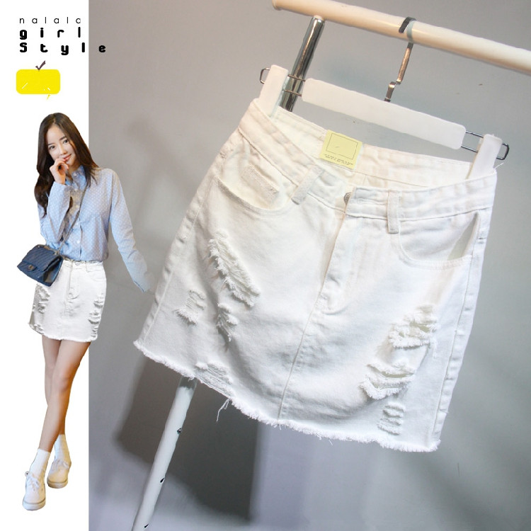 Womens White Denim Skirt - Dress Ala