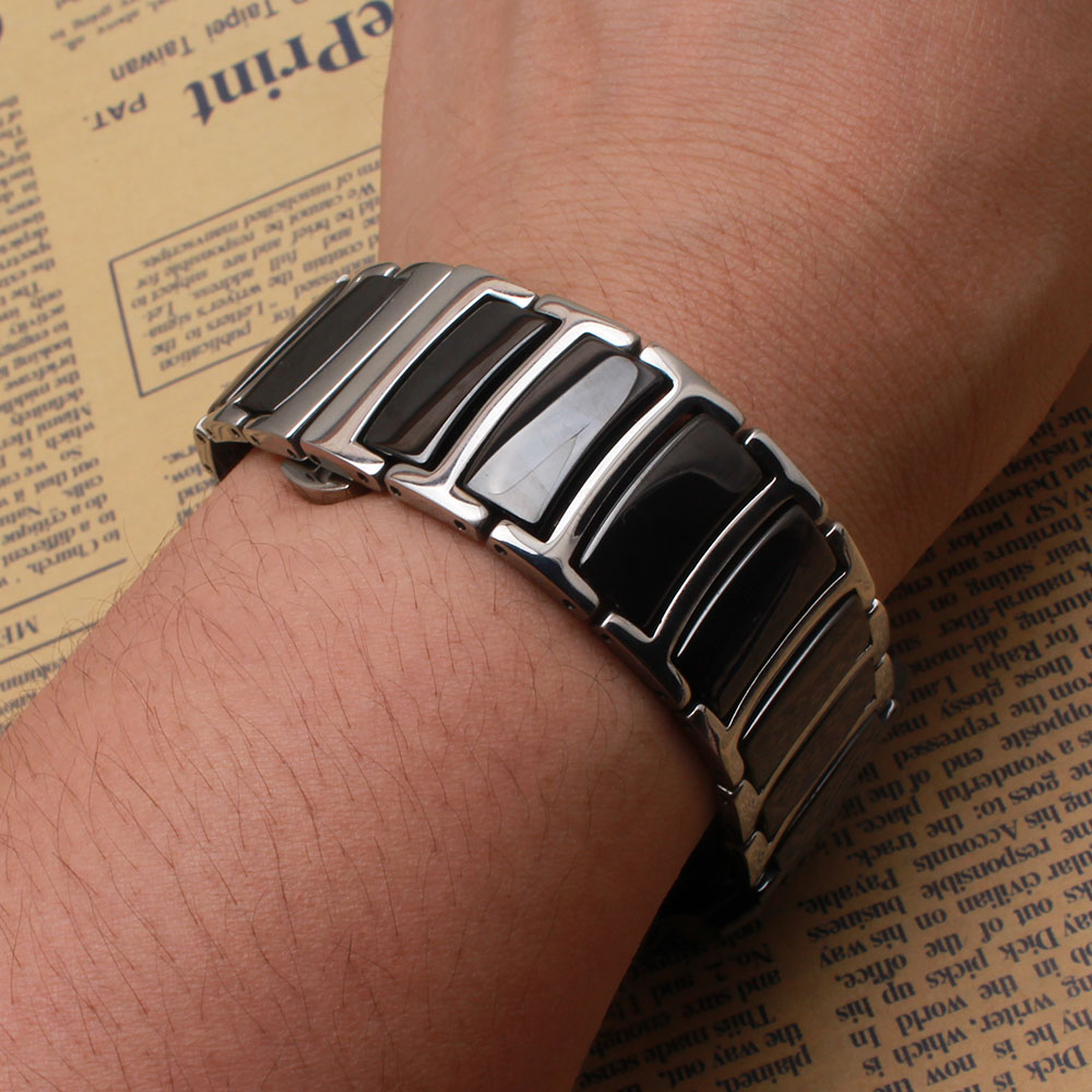 Black Ceramic with silver stainless steel metal Watchbands straps 20mm 22mm Polished watch band bracelets butterfly Fit gear S3 image