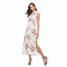 women clothes Summer 2019 New Back-to-Back Printed Lace Dresses vintage dress vestido Sleeveless shoulder sexy top