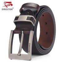 DINISITON vache en cuir véritable ceintures pour hommes de luxe hommes ceinture en cuir ceinture en alliage boucle décontracté mâle Vintage sangle ceinture homme