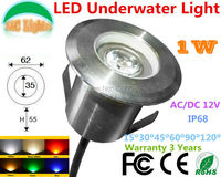 Free Shipping 1W LED Underwater Lights AC DC 12V IP68 Waterproof Underground Lamps Outdoor Landscape Light