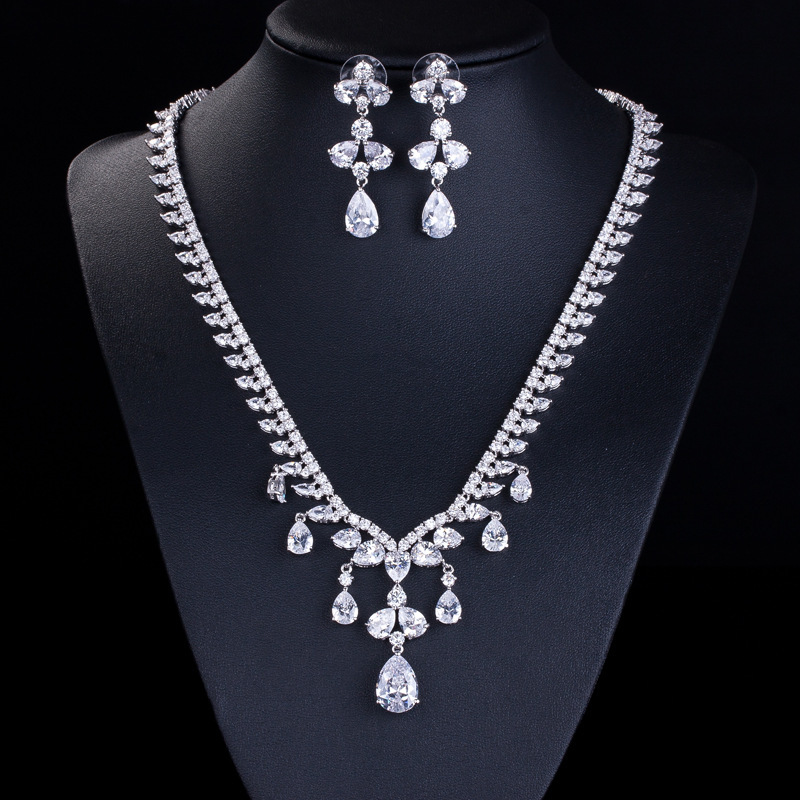 New Gorgeous AAA Zirconia CZ Diamond Necklaces and Earring Set ...