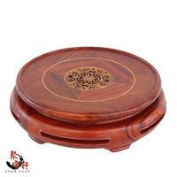 Annatto Red Woodcarving Handicraft Circular Base Of Real Wood Of Buddha Stone Are Recommended Vase Furnishing