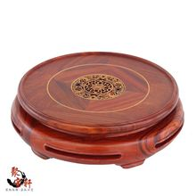 annatto red woodcarving handicraft circular base of real wood of Buddha stone are recommended vase furnishing articles