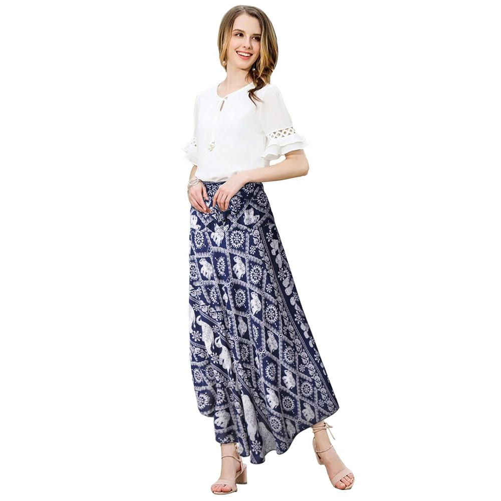 Artfeel 2018 New Elephant Print Bohemia Skirt Women Thailand Style Boho Hippie Summer Beach Sexy Wrap Tie Long Skirts