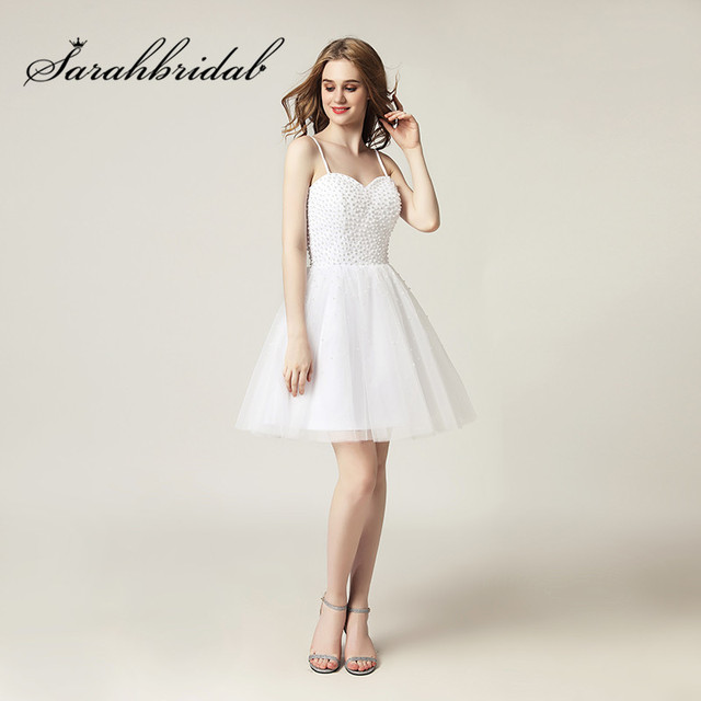 ec2d0e7cd0797 Sweet Little White Party Dresses 2017 Spaghetti Straps Beaded Pearls A Line  Short Prom Cocktail Gowns Zipper Back SD416