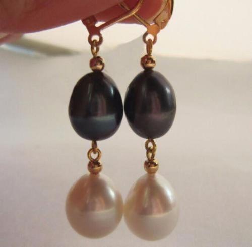 Livraison gratuite charmant 9X11mm mer du sud blanc noir perle boucle d'oreille 14 k/20 or jaune crochet