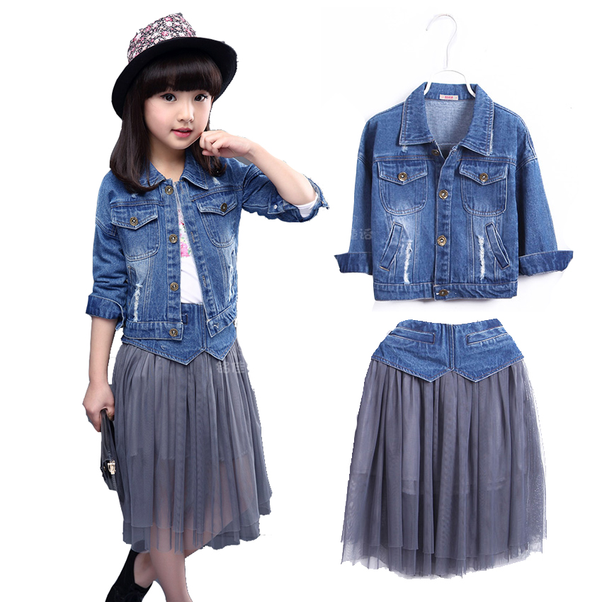 Kids Girls Skirt Set Spring 2018 New Girls Denim Jacket & Long Mesh Skirt Set 2 Pcs Girls Clothing Set Girls Skirts and Top Sets 2016 spring girls clothes girls clothing sets new arrival female child flower print o neck pullover short skirt set baby twinset
