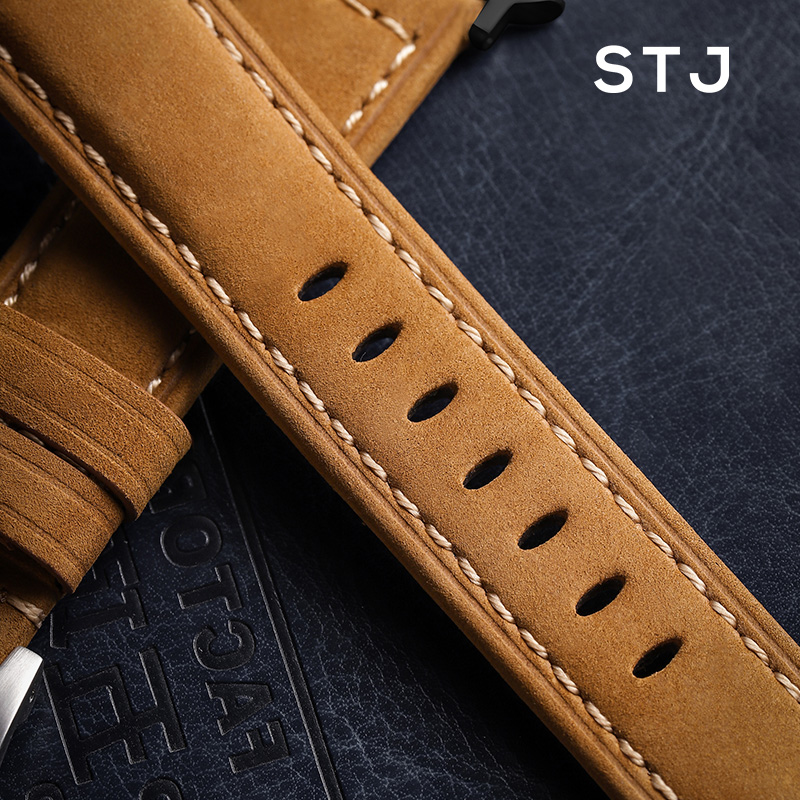Image 4 - STJ Handmade Cowhide Watchband For Apple Watch Bands 42mm 38mm & Apple Watch Series 4 3 2 1 Strap For iWatch 44mm 40mm Bracelet-in Watchbands from Watches