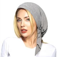 Nowe mody miękkie Lycra Pre Tied wyposażone Turban szale na głowę nakrycia głowy kapelusz po chemioterapii muzułmańskie bandany Jersey hidżab Turbante