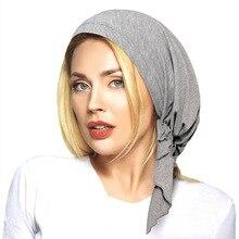 Yeni moda Yumuşak Likra Ön Tied Gömme Türban Başkanı Eşarp Şapkalar Kemo Şapka Müslüman Bandanalar Jersey Başörtüsü Turbante