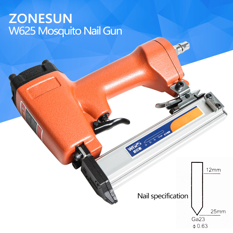 ZONESUN W625 Mosquito Pneumatic Nail Gun Air Stapler Stapling Machine For Furniture Woodworking Carpentry Decoration Carpenter