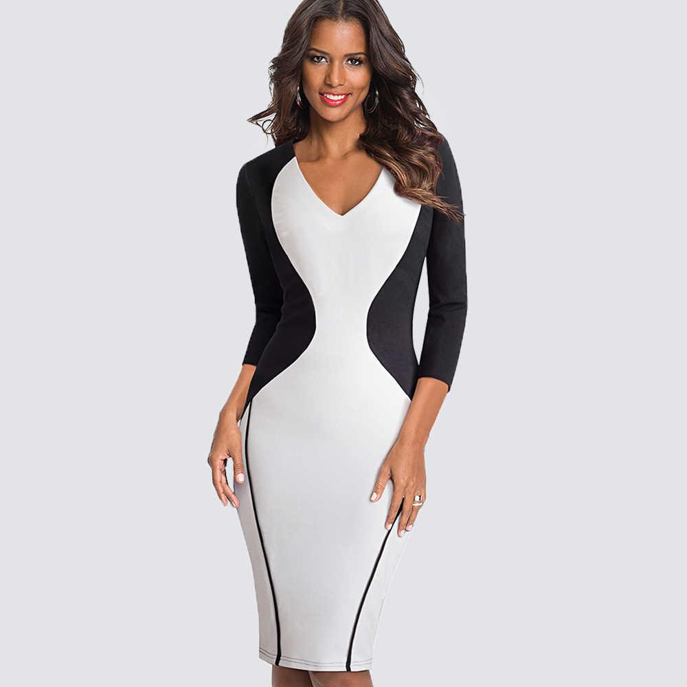 Женское сексуальное платье-карандаш с v-образным вырезом, с цветными блоками, из кусков, для формальной работы, офиса, бизнеса, облегающее, Повседневное платье HB421