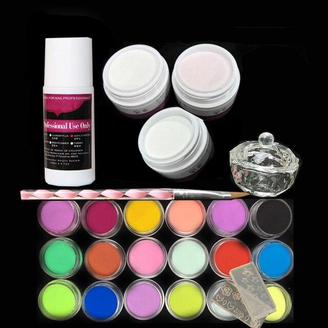 P3pcs Acrylic Nail Kit Powder Liquid 75ml 18 Colored Art Tips Manicure