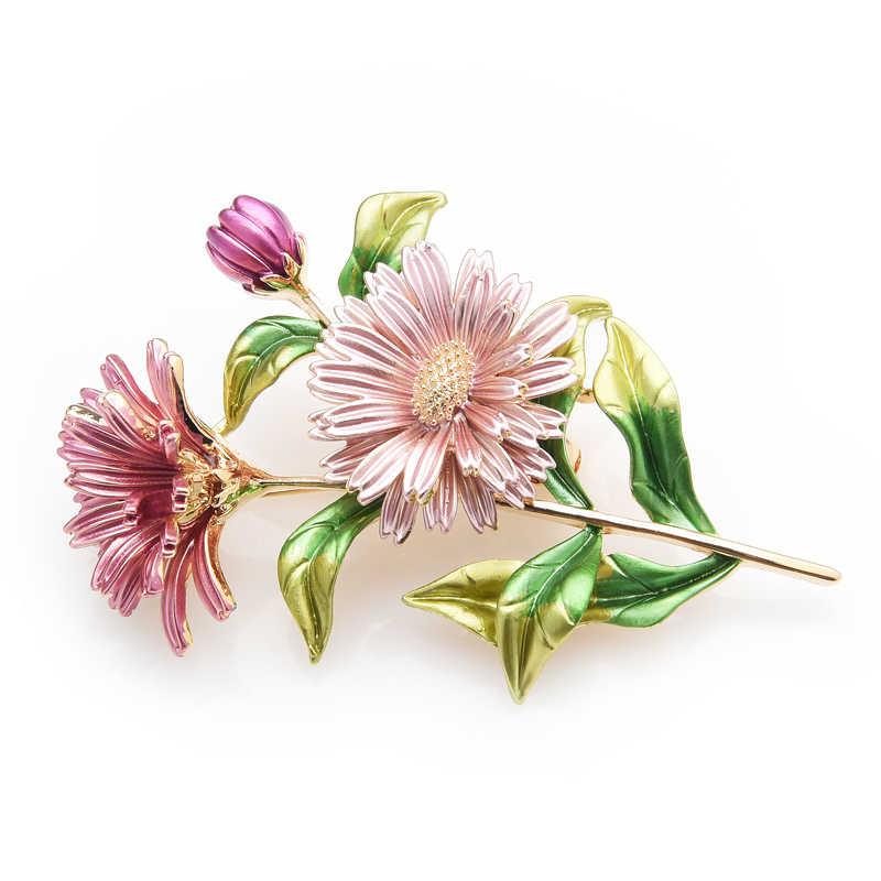 Wuli & Baby Pink Daisy Bouquet Enamel Bros Logam Bunga Pernikahan Perjamuan Bros Pin untuk Wanita dan Pria