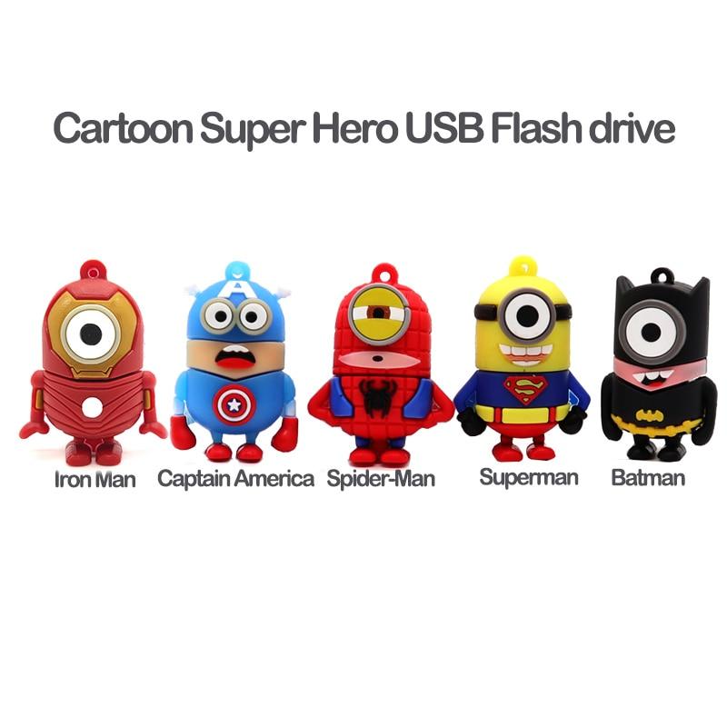 Image 2 - Pen drive cartoon superheros usb flash drive 64GB cute Minions memory stick 32GB 16GB 8GB 4GB superman creative gift pendrive-in USB Flash Drives from Computer & Office